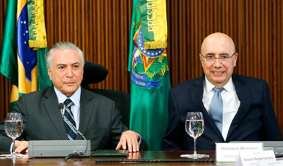 Presidente da República Michel Temer e Ministro da Fazenda Henrique Meirelles